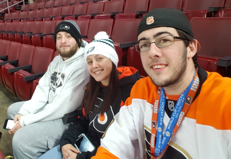 Amanda Jennings And Mark Stewart Of Kennett Square, PA, Giant 6105 And Alex Mszanecky Of Newtown Square, PA, Giant 6526 Cheering On The Phildelphia Flyers