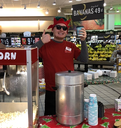 Corey Is Excited To Hand Out Popcorn, Cookies, And Hot Cocoa To Customers During Santa's Visit To Cressona, PA, Giant
