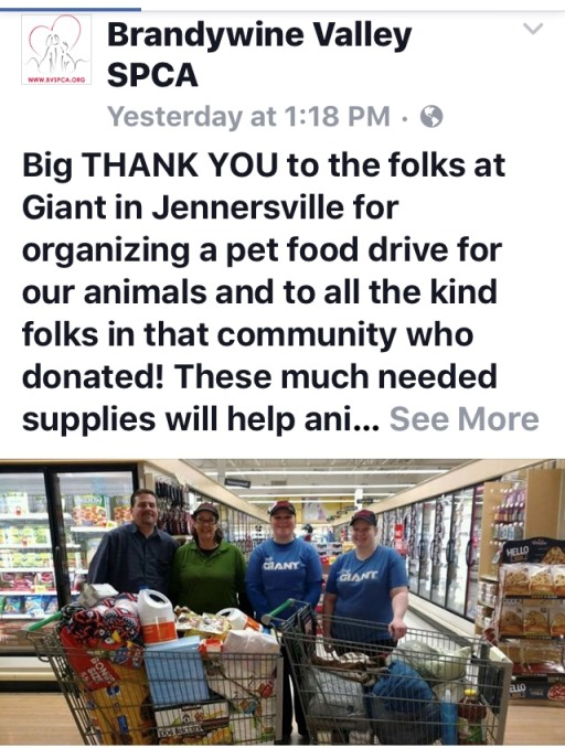 The West Grove, PA, Giant Got A Shout Out From The Brandywine Valley SPCA For Its Support Of Seven Local Animal Shelters With The Store's Pupcake Day Event!