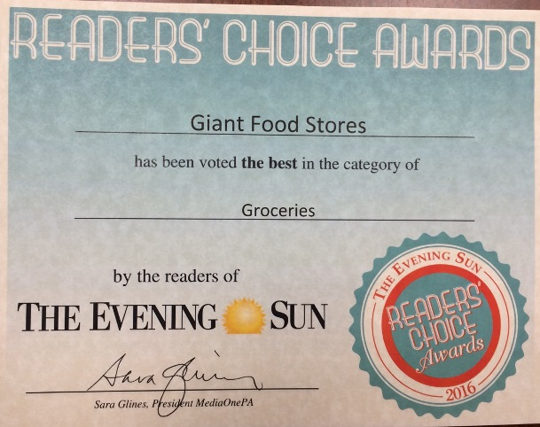 The Hanover, PA, Giant Store Was Named One Of The Best Grocery Destinations By Readers Of The Local Evening Sun Newspaper