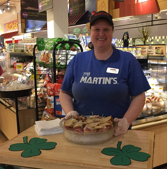 Assistant Deli Manager Sharri Mongan At Martin's Store #6297 In Lavale, MD, Gives Out Samples Reuben Sandwiches For St Patricks Day